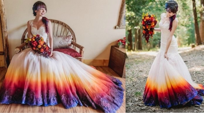 dip dyed wedding dress for sale